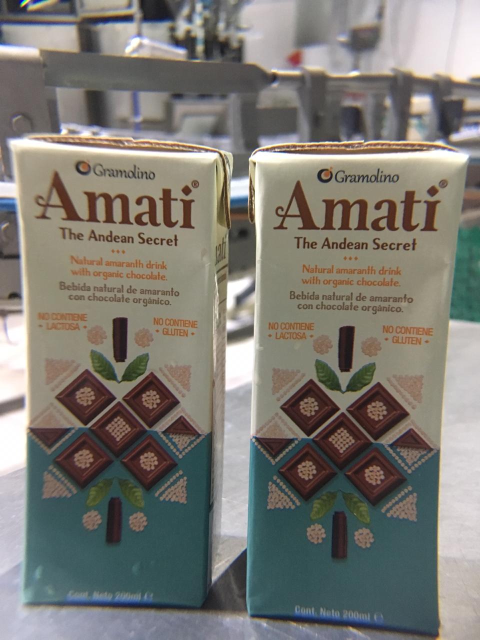 Amati, bebida de amaranto con cacao 100%
